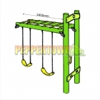 Envirolog Monkey Bar with Swing Frame Add-on