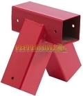 Square Swing Corner 90 x 90 x 90mm - Long Tube - Red