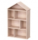 Wooden Dollhouse Bookcase Display Unit - Natural